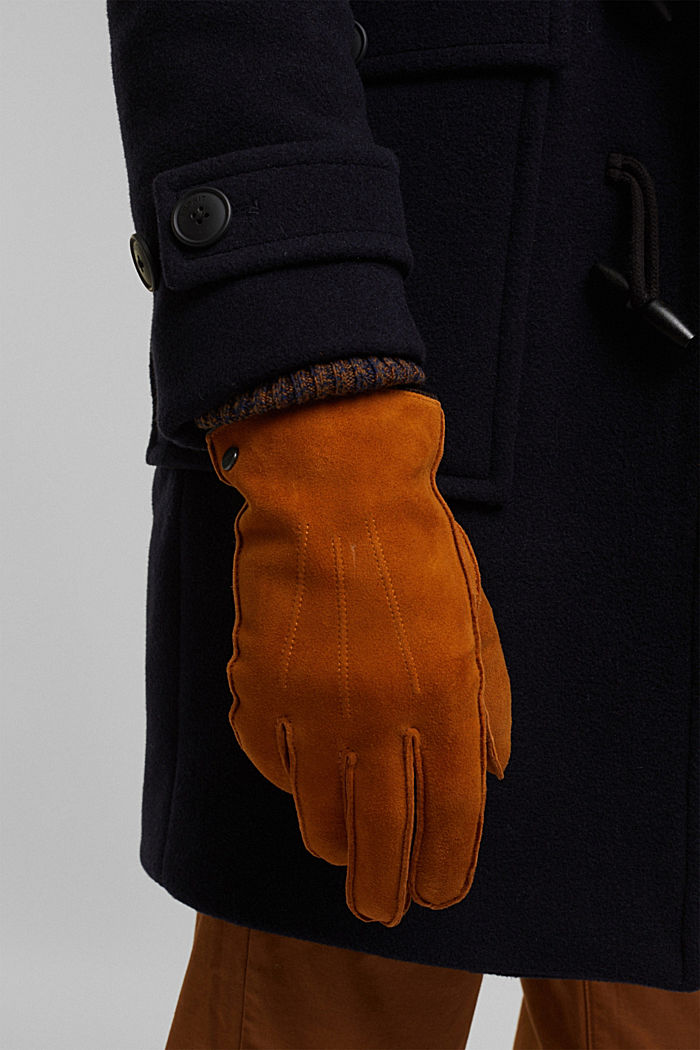 Suede gloves, CARAMEL, detail image number 2