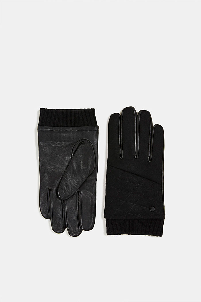 With wool/leather: gloves, chrome-free tanned, BLACK, detail image number 0