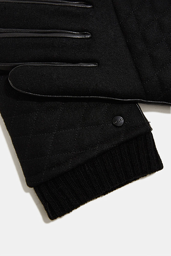 With wool/leather: gloves, chrome-free tanned, BLACK, detail image number 1