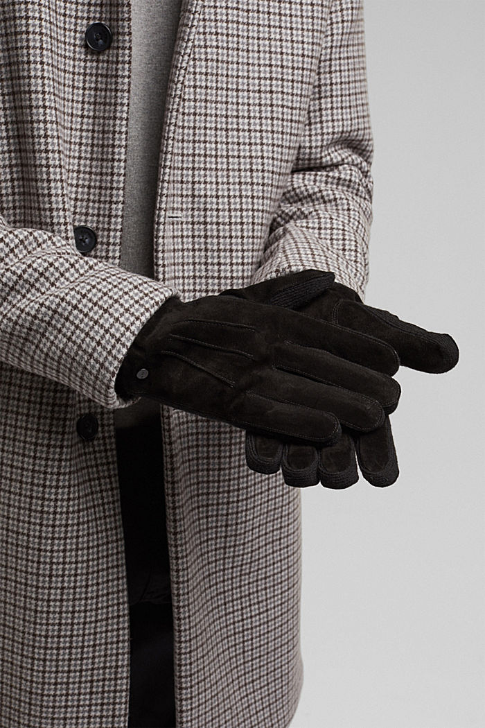 With wool/leather: gloves, chrome-free tanned, BLACK, detail image number 2