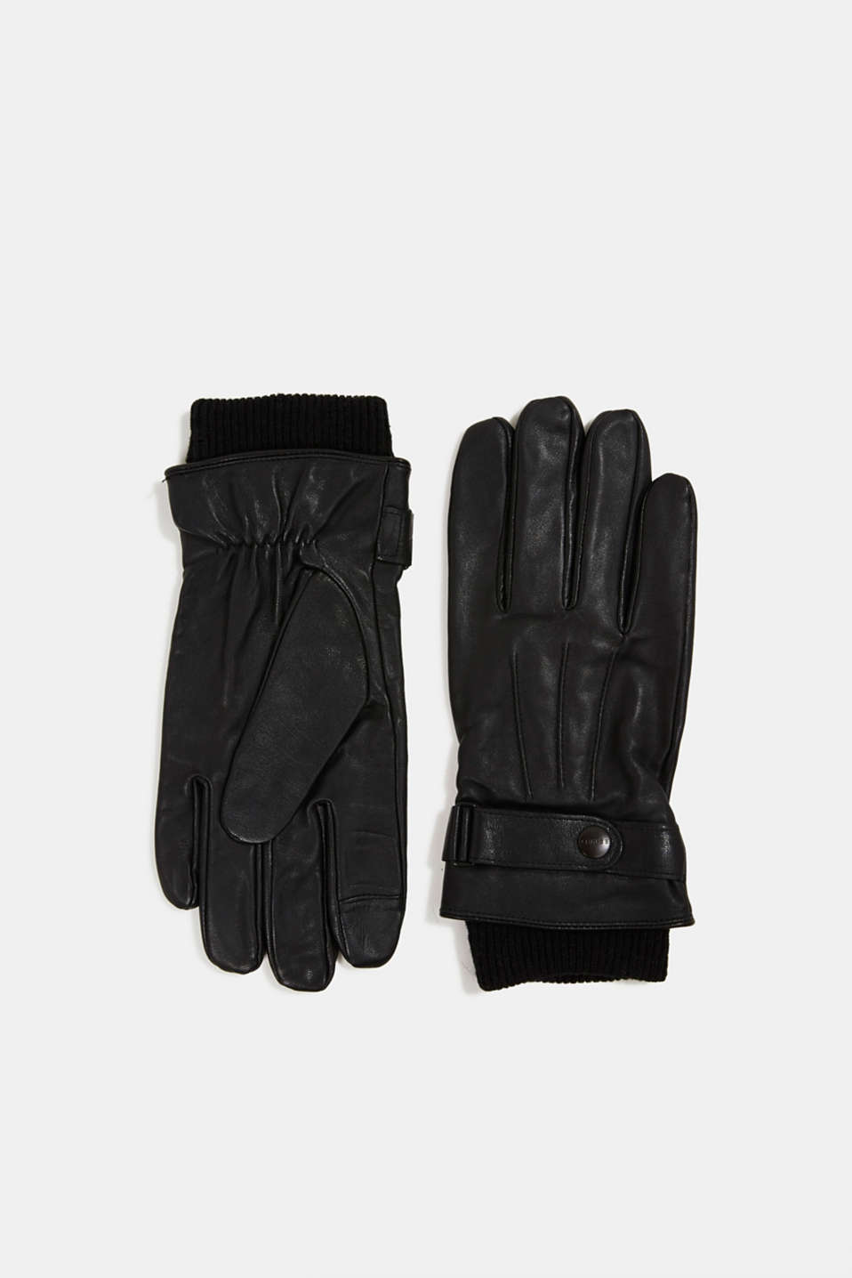 Esprit - Leather gloves with wool
