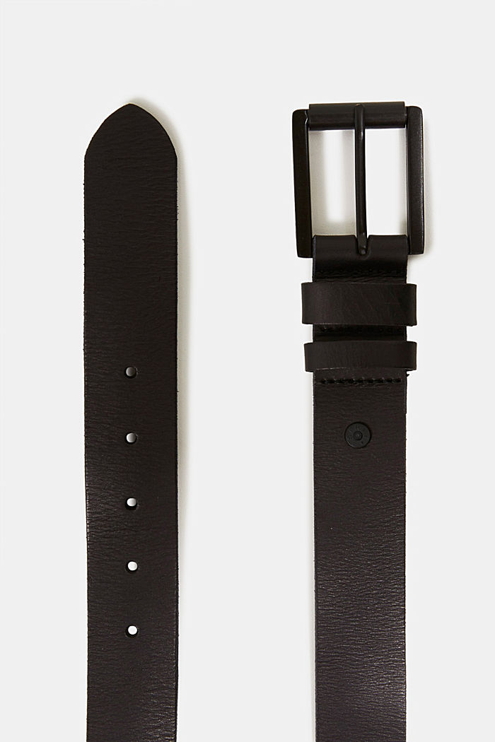 Belt made of chromium-free tanned leather, BLACK, detail image number 1