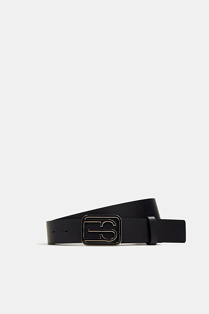 Leather belt with a monogram buckle
