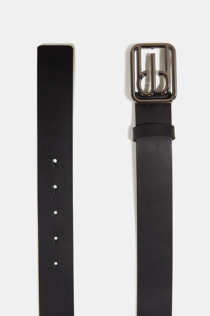 Leather belt with a monogram buckle, BLACK, detail image number 1