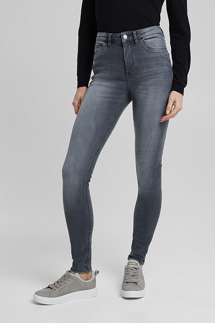 Stretch jeans in organic cotton, GREY DARK WASHED, detail image number 0