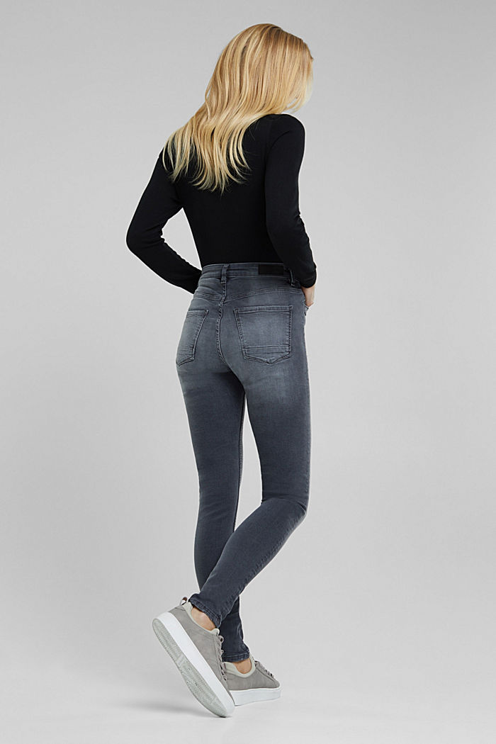 Stretch jeans in organic cotton, GREY DARK WASHED, detail image number 3