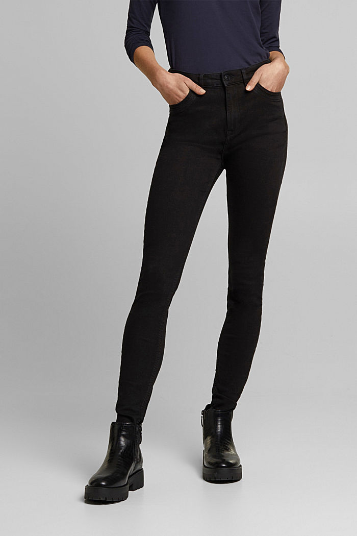 Jeans skinny in cotone biologico, BLACK RINSE, detail image number 0