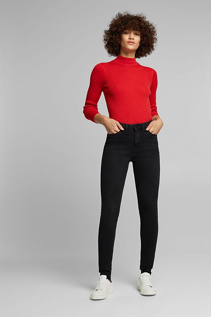 Skinny džíny z bio bavlny, BLACK DARK WASHED, detail image number 1