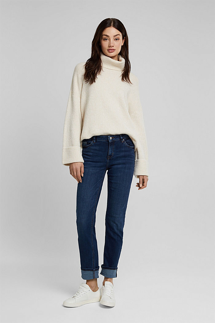 Super stretch jeans with organic cotton, BLUE DARK WASHED, detail image number 5