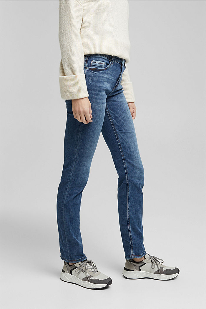 Super stretch jeans with organic cotton, BLUE MEDIUM WASHED, detail image number 0