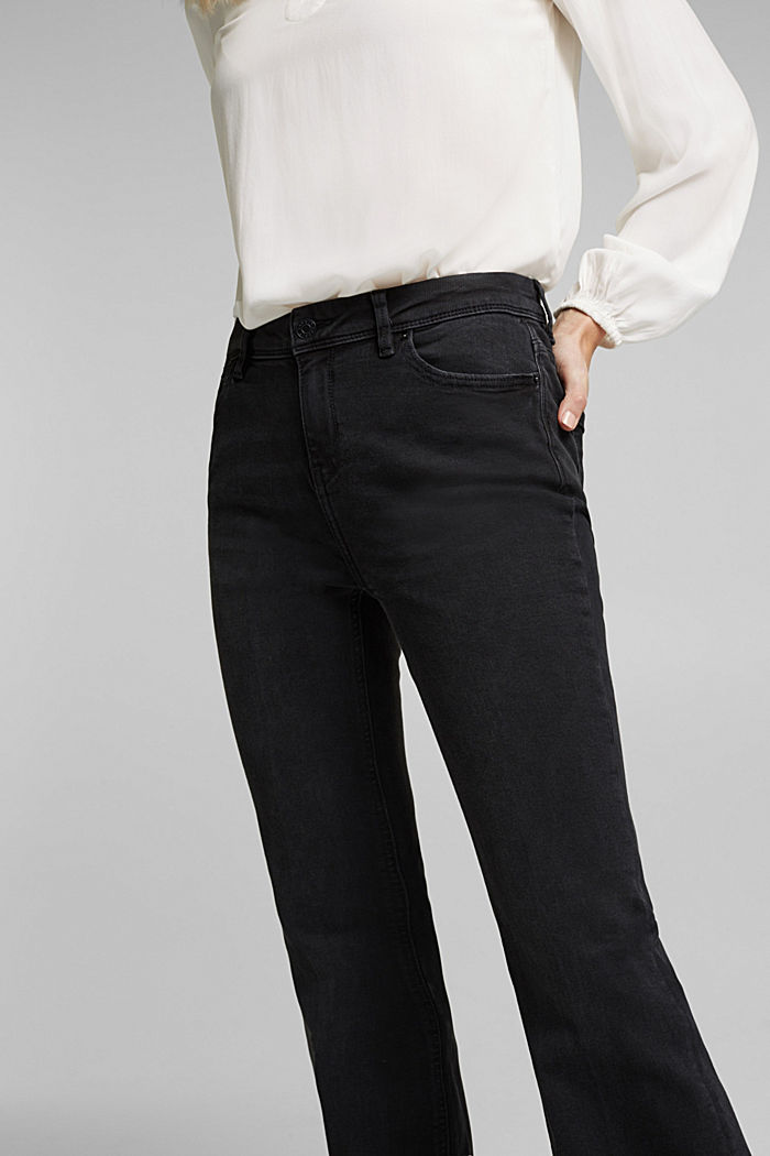 Organic cotton flared jeans, BLACK DARK WASHED, detail image number 2