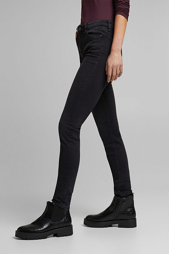 Stretch jeans containing organic cotton, BLACK RINSE, overview