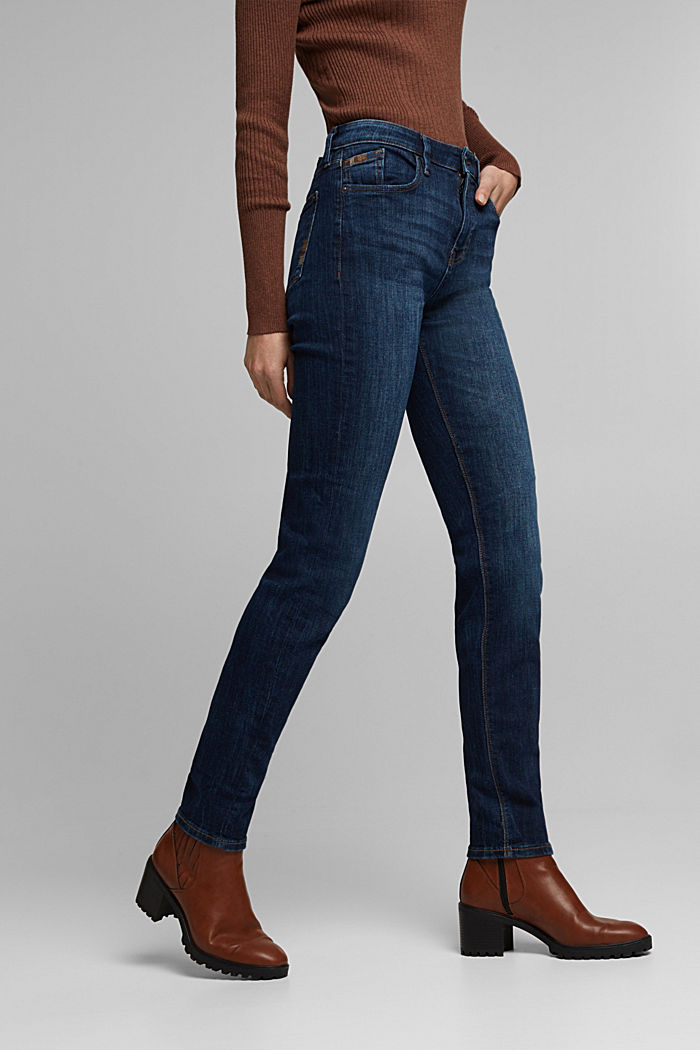 Stretch jeans with decorative stitching, BLUE DARK WASHED, detail image number 0