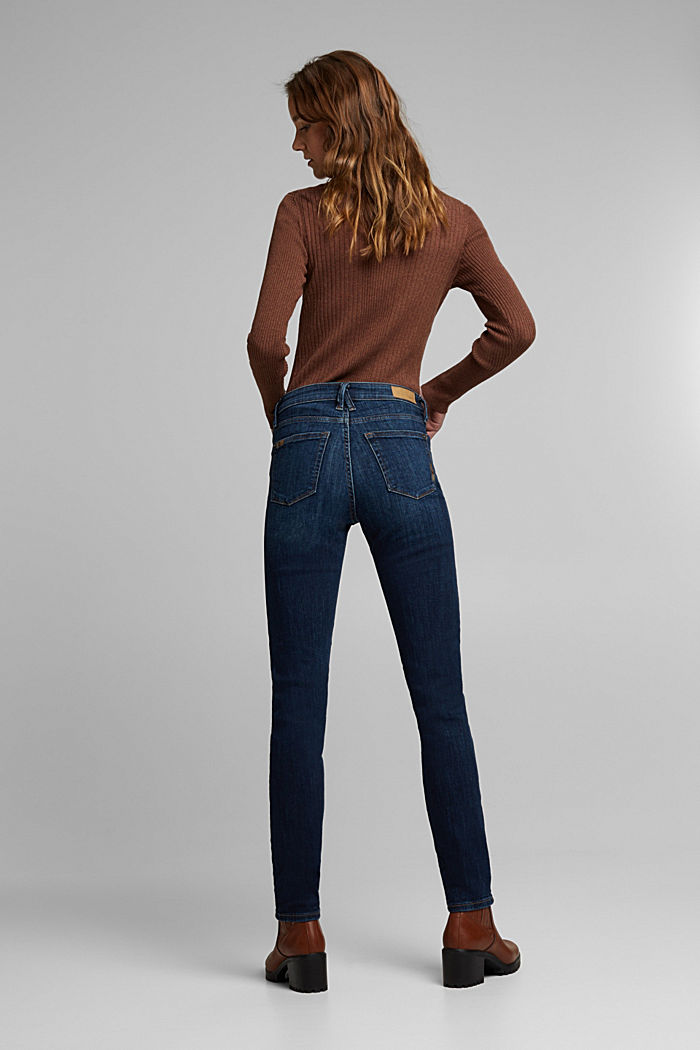 Stretch jeans with decorative stitching, BLUE DARK WASHED, detail image number 3