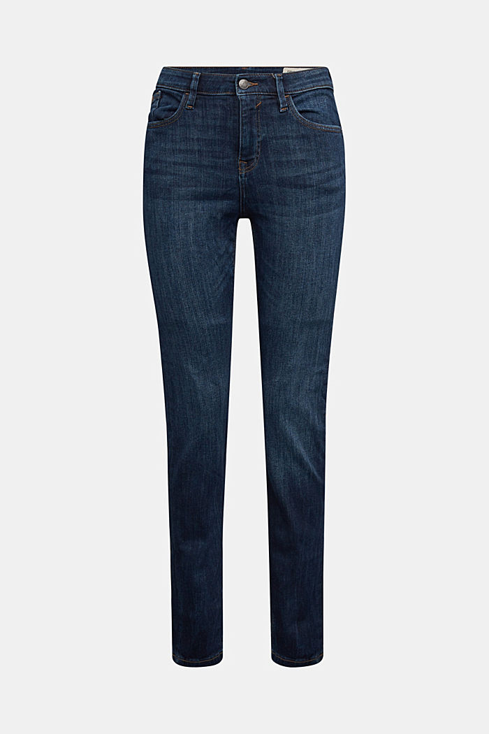 Stretch jeans with decorative stitching, BLUE DARK WASHED, detail image number 7