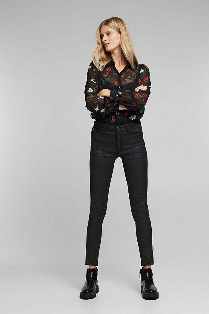 Coated trousers with biker details, BLACK, detail image number 1