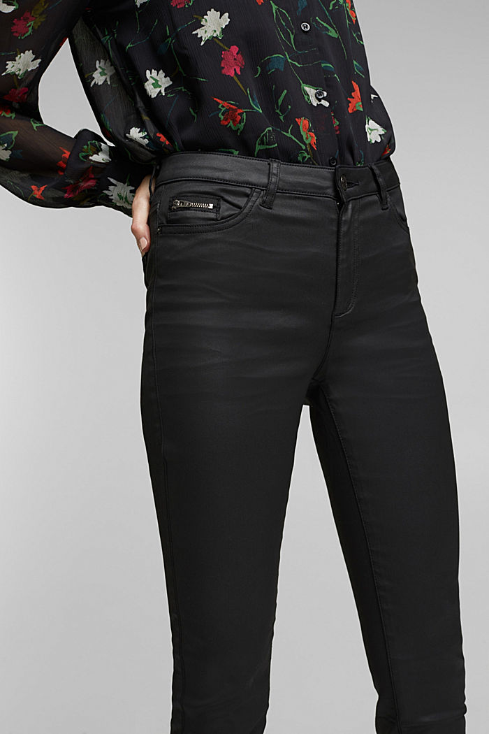 Coated trousers with biker details, BLACK, detail image number 2