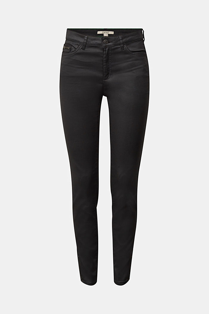 Coated trousers with biker details