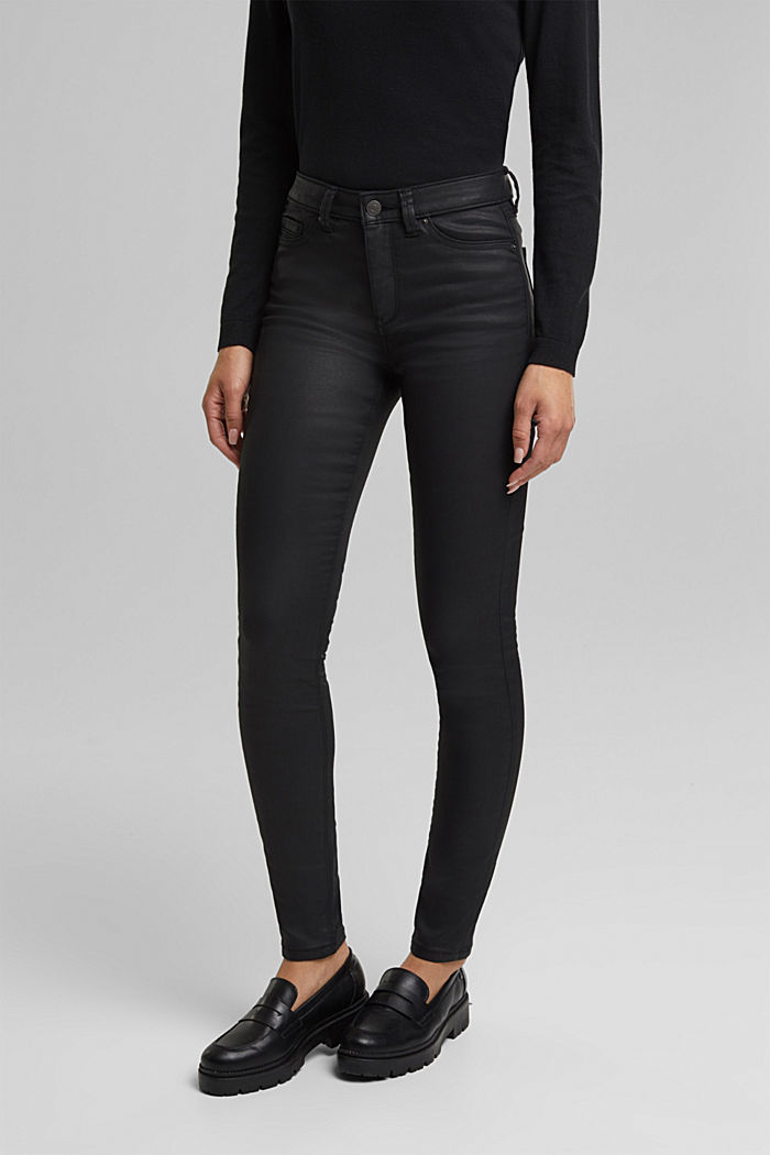 Coated jersey trousers, BLACK, overview