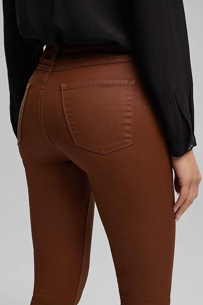 Beschichtete Jersey-Hose, BROWN, detail image number 2