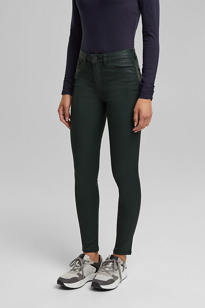 Coated jersey trousers, DARK GREEN, detail image number 0