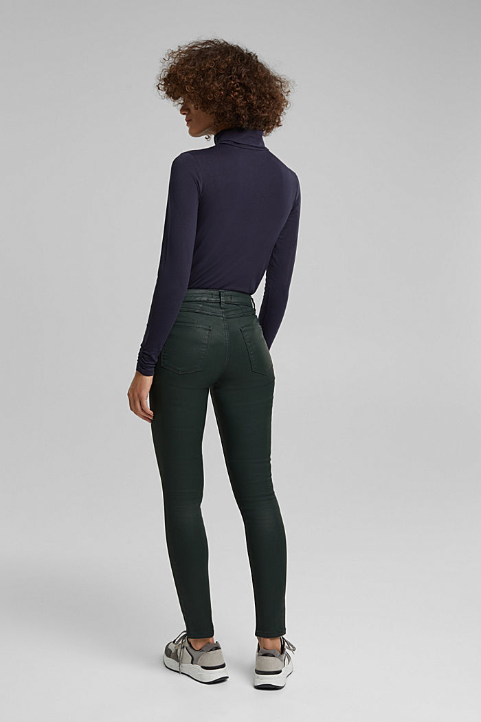Coated jersey trousers, DARK GREEN, detail image number 3