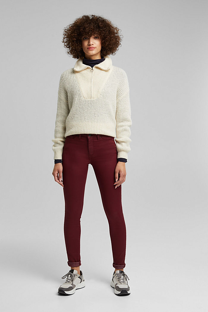 Gecoate jersey broek, BORDEAUX RED, detail image number 6