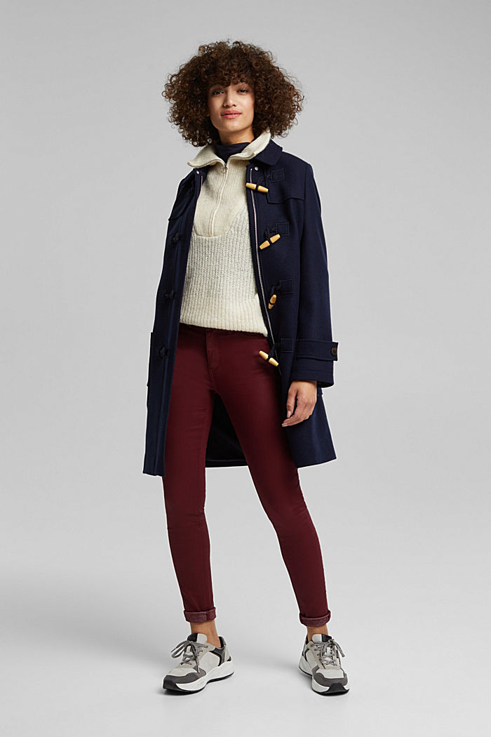Gecoate jersey broek, BORDEAUX RED, detail image number 1