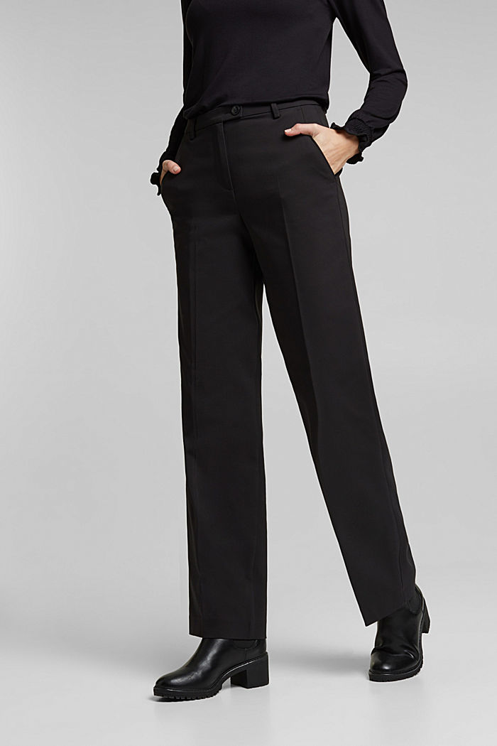 Stretch trousers with pressed pleats, BLACK, detail image number 0