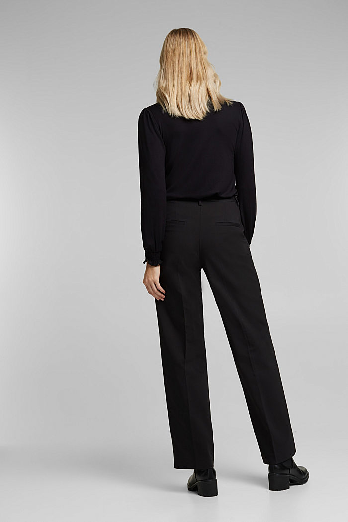 Stretch trousers with pressed pleats, BLACK, detail image number 3