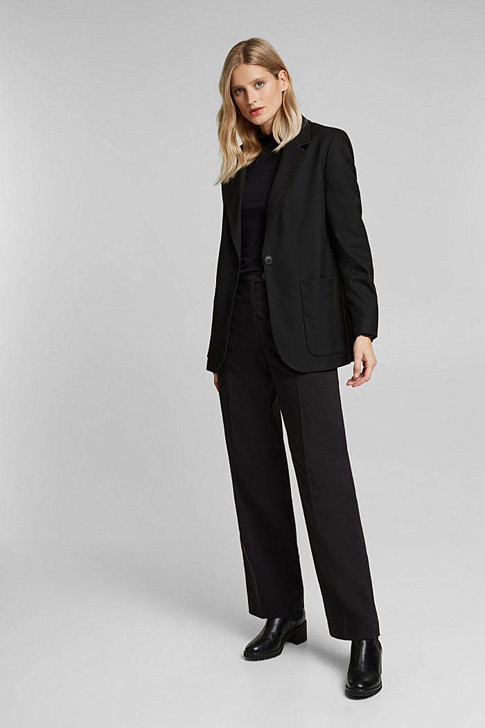 Stretch trousers with pressed pleats, BLACK, detail image number 1