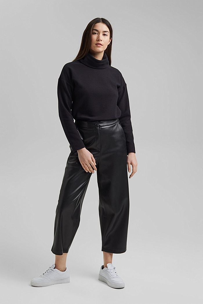 Faux leather culottes, BLACK, detail image number 5