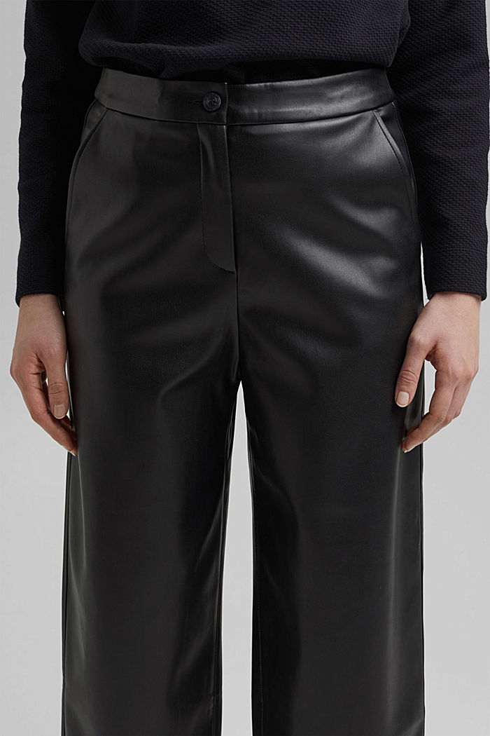 Faux leather culottes, BLACK, detail image number 2
