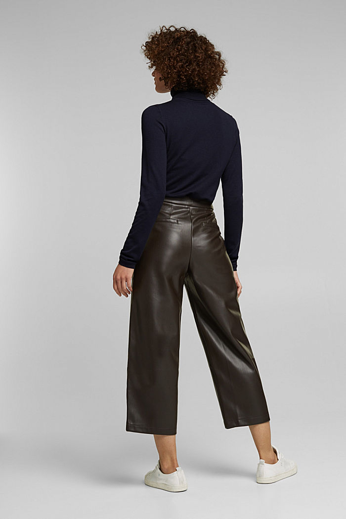 Faux leather culottes, BROWN, detail image number 3