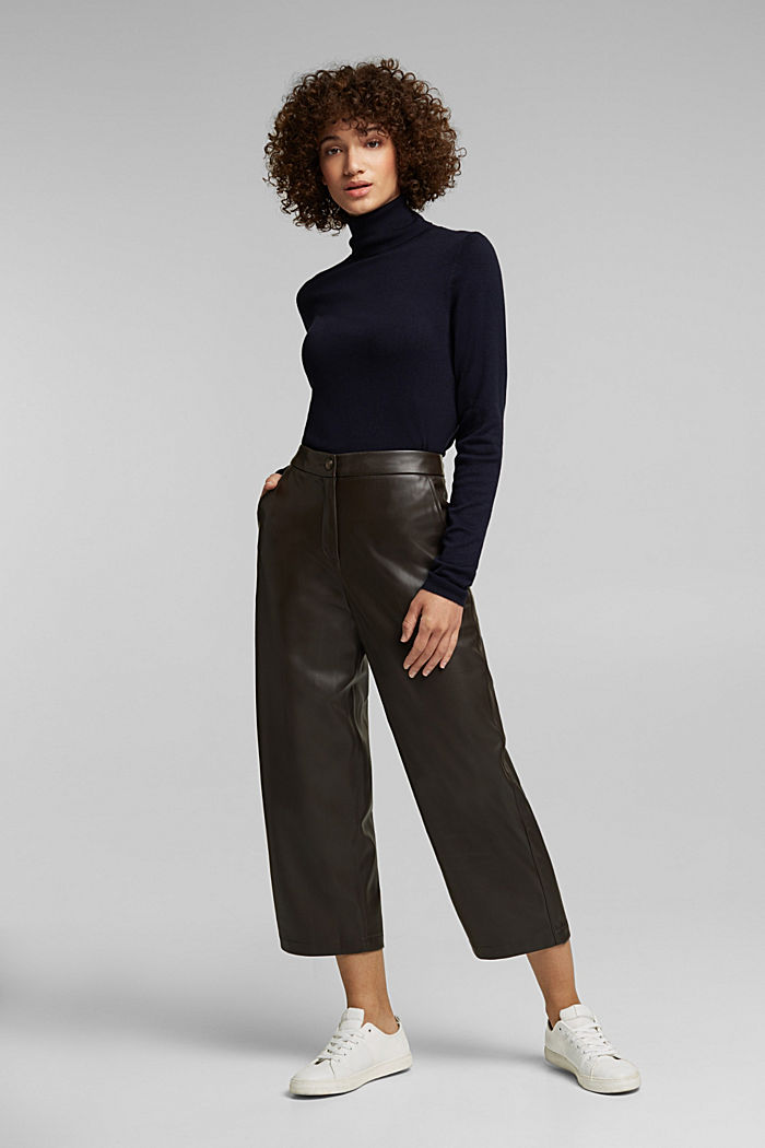 Faux leather culottes, BROWN, detail image number 1