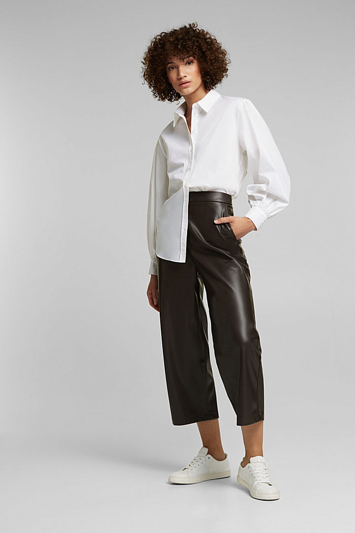 Faux leather culottes, BROWN, detail image number 6