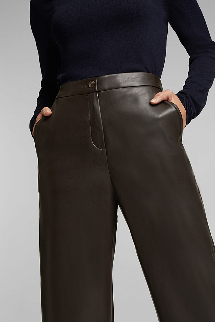 Faux leather culottes, BROWN, detail image number 2
