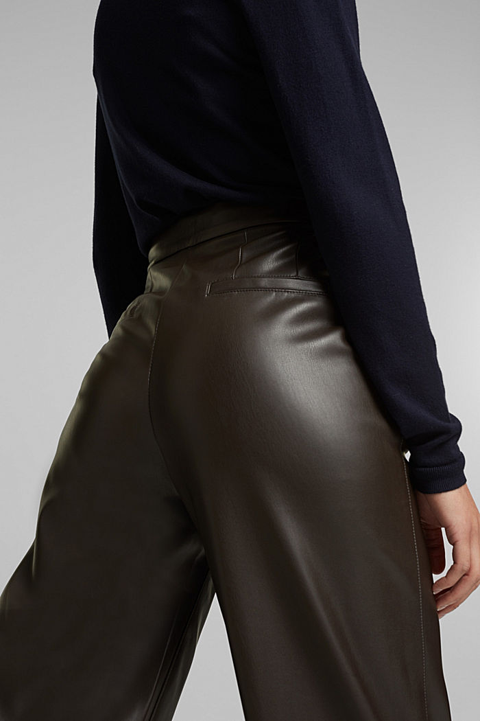 Faux leather culottes, BROWN, detail image number 5