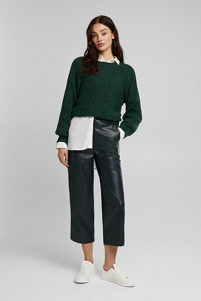 Faux leather culottes, DARK GREEN, detail image number 0