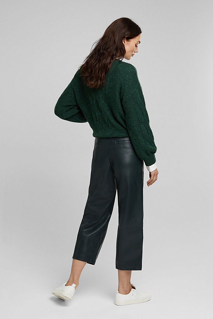 Faux leather culottes, DARK GREEN, detail image number 3