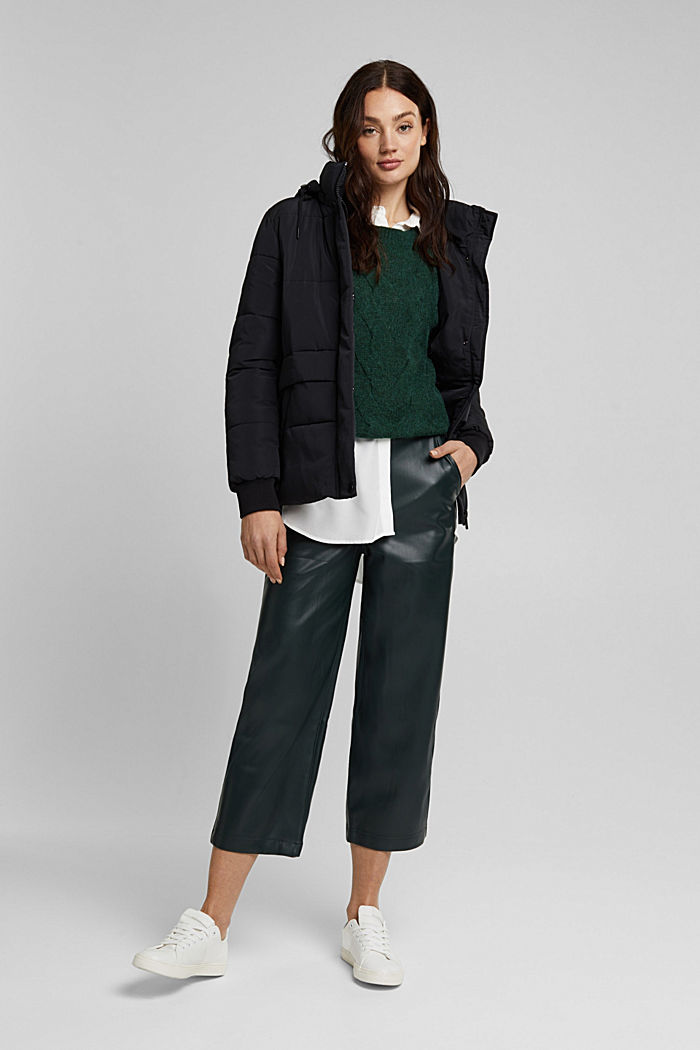 Faux leather culottes, DARK GREEN, detail image number 1