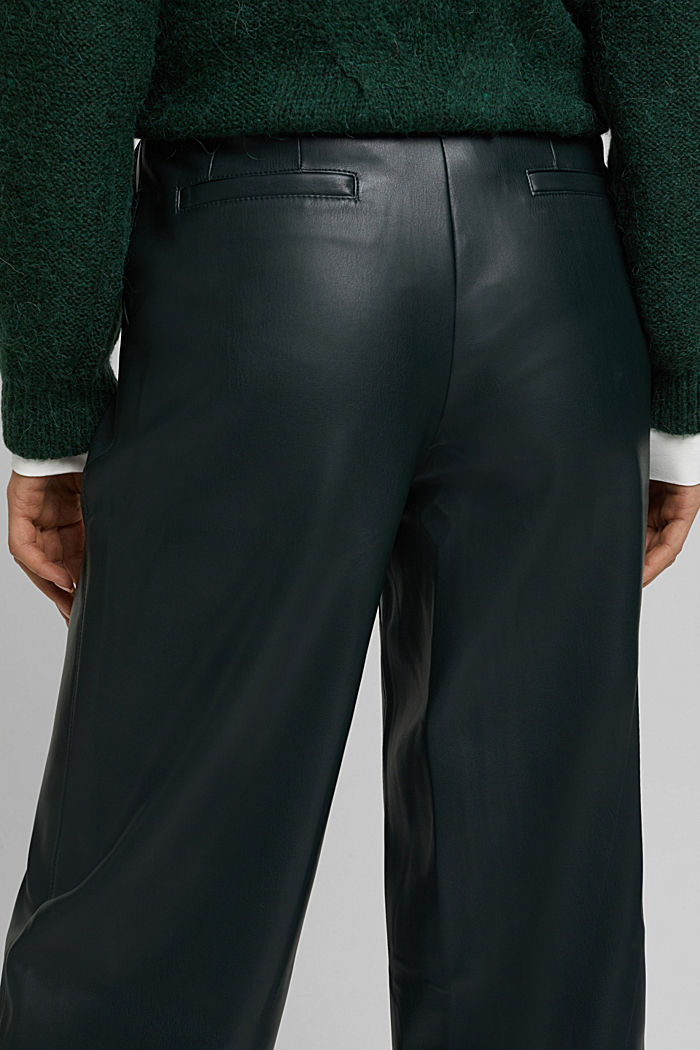 Faux leather culottes, DARK GREEN, detail image number 2