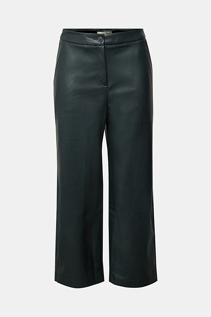 Faux leather culottes, DARK GREEN, detail image number 6