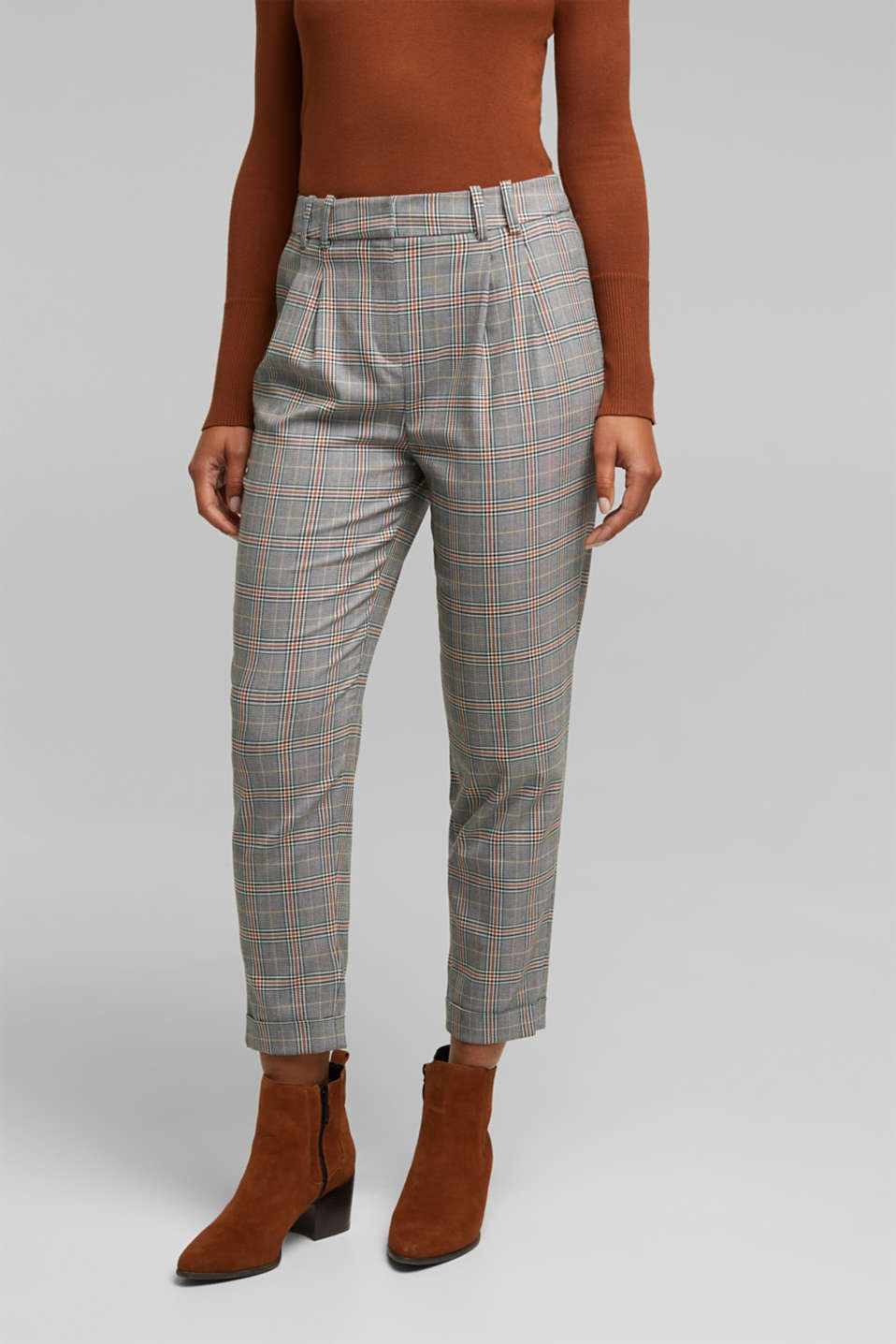 Esprit - In materiale riciclato: chino NEW CHECK Mix + Match
