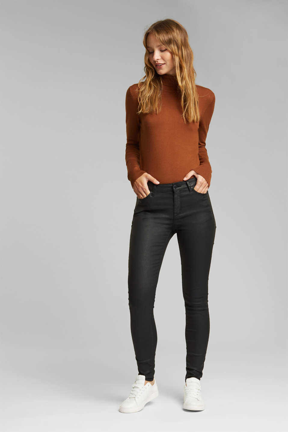 Esprit - Coated stretch trousers