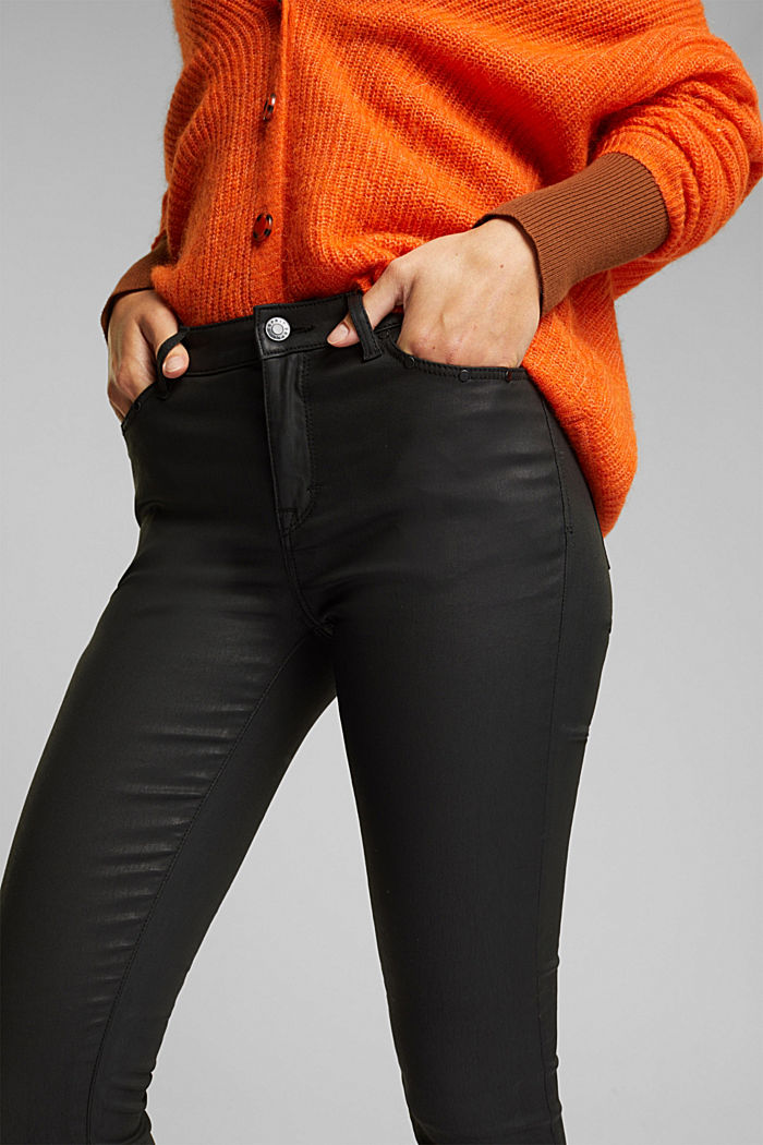 Coated stretch trousers
