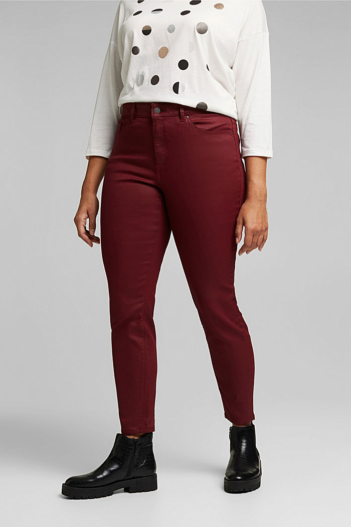 Skinny trousers with organic cotton, BORDEAUX RED, overview