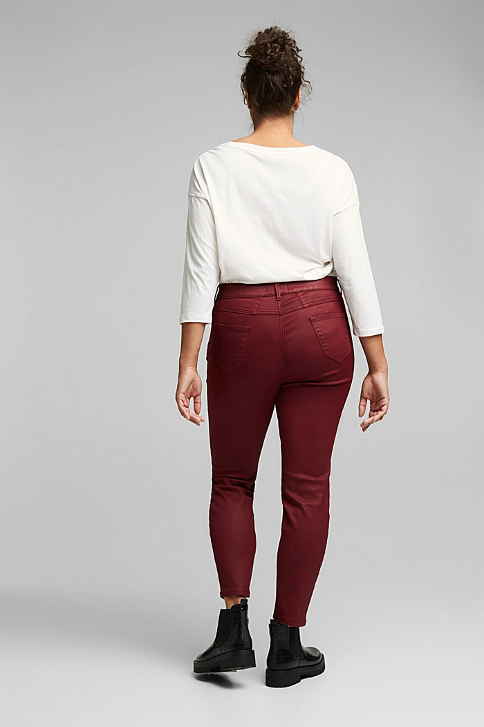 Skinny trousers with organic cotton, BORDEAUX RED, detail image number 3