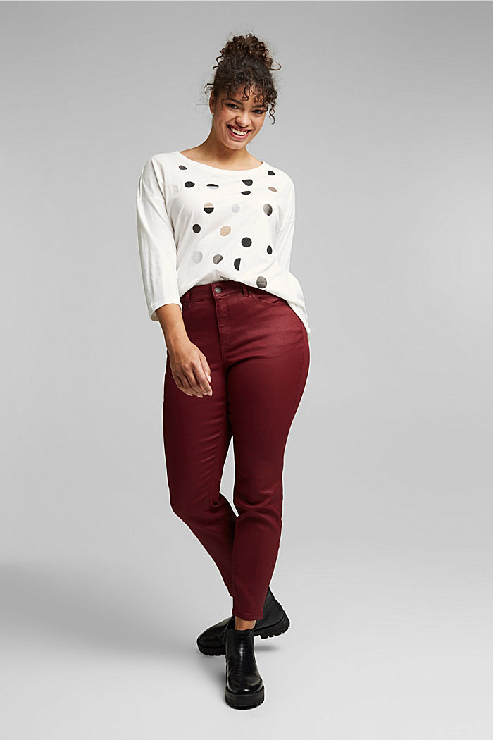 Skinny trousers with organic cotton, BORDEAUX RED, detail image number 1
