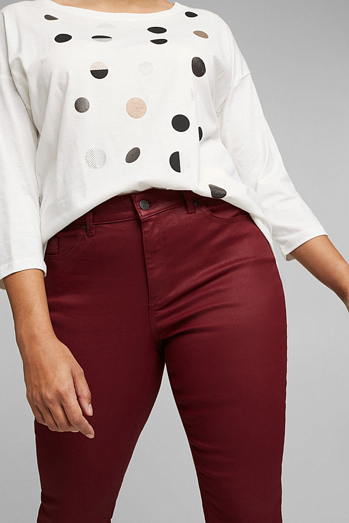 Skinny kalhoty s bio bavlnou, BORDEAUX RED, detail image number 2